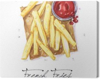 Obraz na Plátně Akvarel Food Malba - Hranolky