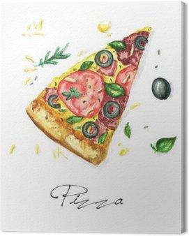 Obraz na Plátně Akvarel Food Malba - Pizza