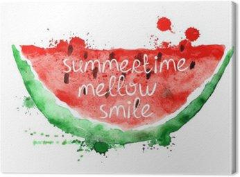 Obraz na Plátně Akvarel ilustrace s plátkem melounu.