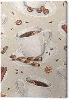 Obraz na Plátně Akvarel ilustrace šálek kávy. Bezešvé vzor
