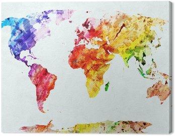 Obraz na Plátně Akvarel mapa světa