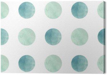 Obraz na Plátně Akvarel textury. Bezešvé vzor. Akvarel kruhy v pastelových barvách na bílém pozadí. Pastelové barvy a romantické delikátní výprava. Polka Dot Pattern. Čerstvé a Mint barvy.