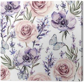 Obraz na Plátně Akvarel vzor s barvami levandule, růže a sasanky.