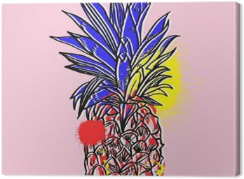 Obraz na Plátně Ananas tropického ovoce. Vektorový objekt.