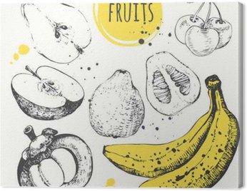 Obraz na Plátně Banán, mangosteen, jablko, bergamot. Ručně kreslenými set s čerstvými potravinami.