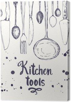 Obraz na Plátně Bezešvé pozadí s jídelní nádobí. vzor Menu.