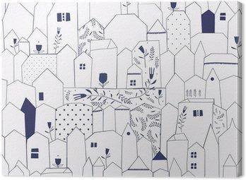 Obraz na Plátně Bezešvé vzor. Obrázek měst ve stylu vintage.