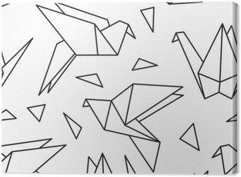 Obraz na Plátně Bezešvé vzor s origami ptáků. Může být použit pro tapetu plochy nebo rámem pro zavěšení na zeď nebo plakátu, za vzor výplně, textury povrchů, webové stránky pozadí, textilní a další.