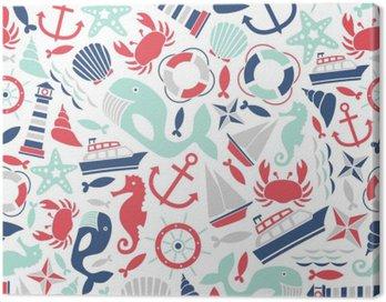 Obraz na Plátně Bezešvé vzor s výhledem na moře ikony