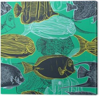 Obraz na Plátně Bezešvé vzor se sbírkou tropických fish.Vintage soubor ručně tažené mořských fauna.Vector ilustrace v PÉROVKY style.Design na pláži v létě, dekorací.