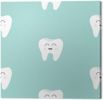 Obraz na Plátně Bezešvé vzor Zubní zdraví. Cute funny cartoon úsměvem charakter. Oral dentální hygieny. Děti péče o zuby. Dítě texturu. Plochá konstrukce. Modrém pozadí.