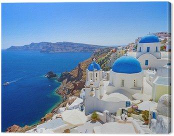 Obraz na Plátně Bílá architektura Oia vesnice na ostrově Santorini, Řecko