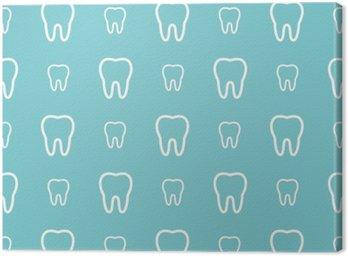 Obraz na Plátně Bílé zuby na modrém pozadí. Vektorové zubní bezešvé vzor.