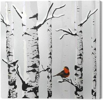 Obraz na Plátně Birch ve sněhu, zimní karta v vektoru