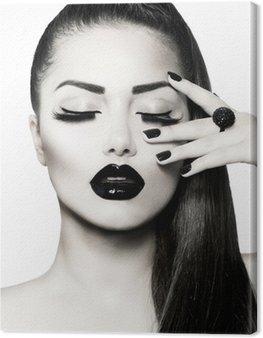 Obraz na Plátně Black and White Brunette Girl Portrait. Trendy Caviar Manikúra