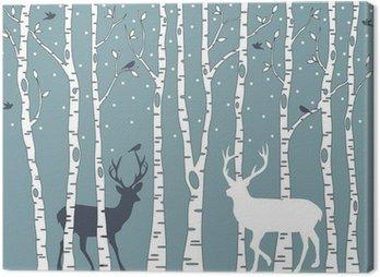 Obraz na Plátně Břízy s jelenem, vektorové pozadí