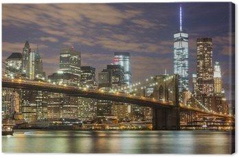 Obraz na Plátně Brooklyn Bridge a Downtown Mrakodrapy v New Yorku za soumraku
