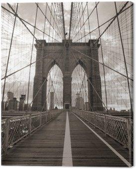Obraz na Plátně Brooklynský most v New Yorku. Sepia tón.