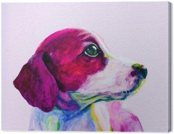 Obraz na Plátně Buddy Portrét mladého psa, štěně v neonových barvách. Hledá a touží po pozornosti