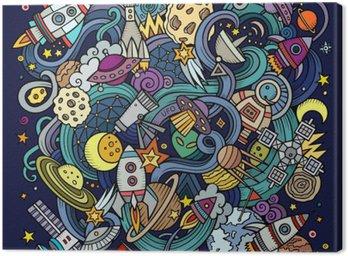 Obraz na Plátně Cartoon ručně kreslených čmáranice Space ilustrační
