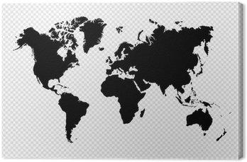 Obraz na Plátně Černá silueta samostatný mapa světa EPS10 vektorový soubor.