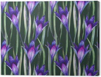 Obraz na Plátně Čerstvých divokých květin, trávě. Vzor, akvarel.