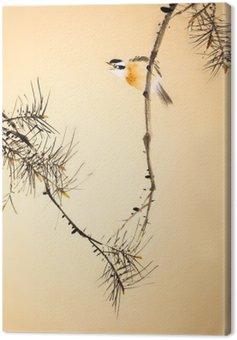 Obraz na Plátně Čínská tušové malby ptáků a rostlin