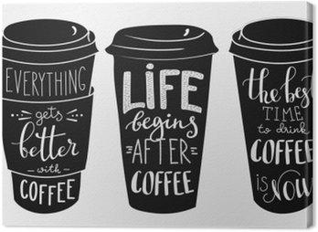 Obraz na Plátně Citace nápisy na kávu papírové tvaru cup set