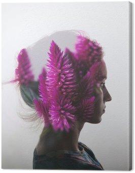 Obraz na Plátně Creative dvojitá expozice s portrétem mladé dívky a květiny