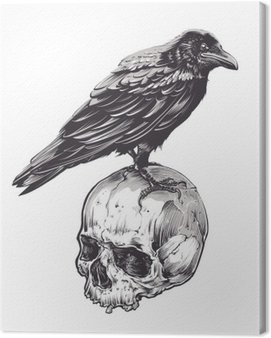 Obraz na Plátně Crow na Skull