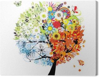 Obraz na Plátně Čtyři roční období - jaro, léto, podzim, zima. Umění strom