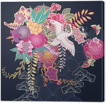 Obraz na Plátně Dekorativní květinový motiv kimono