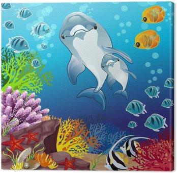 Obraz na Plátně Delfíni na mořském dně