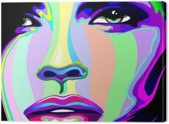 Obraz na Plátně Dívčí portrét Psychedelic Psychedelic Rainbow-Face Girl
