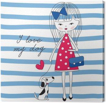 Obraz na Plátně Dívka se psem vektorové ilustrace