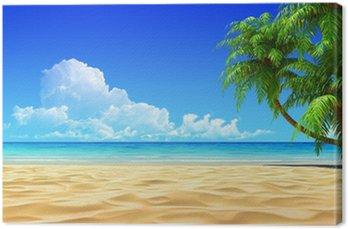 Obraz na Plátně Dlaně na prázdné idylické tropické písečné pláže.