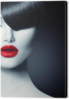 Obraz na Plátně Fashion Glamour Beauty Girl With Trendy Fringe účes