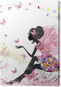 Obraz na Plátně Flower Fairy v prostředí motýlů