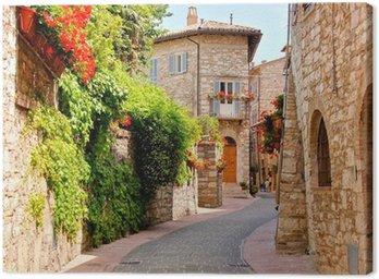Obraz na Plátně Flower lemované ulice ve městě Assisi, Itálie