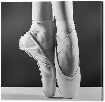 Obraz na Plátně Fotografie pointes Baletka je na černém pozadí