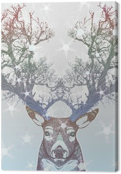 Obraz na Plátně Frozen tree roh jelen
