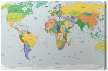 Obraz na Plátně Globální politická mapa světa, vektorové