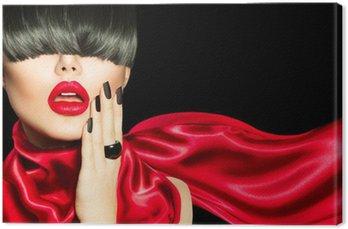 Obraz na Plátně High Fashion Girl with Trendy účes, make-up a manikúra