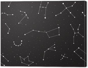 Obraz na Plátně Hvězdná noc, bezešvé vzor, pozadí s hvězdami a souhvězdími, vektorové ilustrace