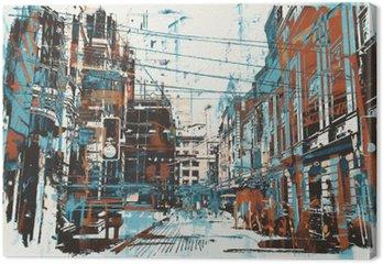 Obraz na Plátně Ilustrace malba městské ulici s grunge textury