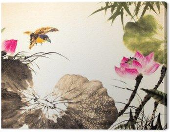 Obraz na Plátně Inkoust lotus malba ručně kreslenými