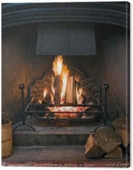 Obraz na Plátně Kamenný krb s osvětlené praskajícího ohně