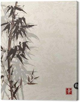 Obraz na Plátně Karta s bambusovými na vinobraní pozadí v sumi-e stylu. Ručně kreslený inkoustem. Obsahuje hieroglyf - štěstí, štěstí