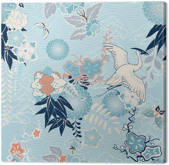 Obraz na Plátně Kimono pozadí s jeřábem a květiny