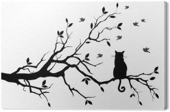 Obraz na Plátně Kočka na stromě s ptáky, vektoru